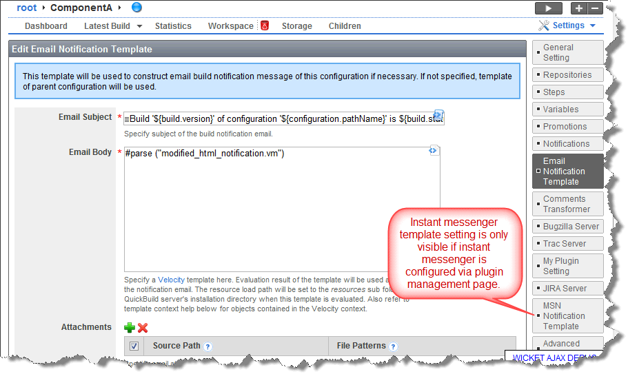Customize Notification Templates - QuickBuild 3 1 x - PMEase